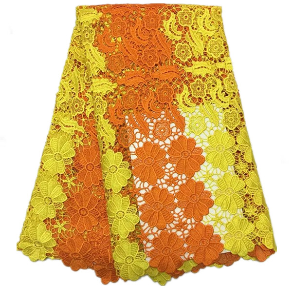 AG178 Free shipping (5yards/pc) Yellow and oragne African flowers cord lace fabric high quality for making party dress