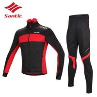Santic велоспорт зимние трикотажные куртки устанавливает тепловая руно mtb дорожный велосипед одежда ветрозащитный теплый велосипедные майки