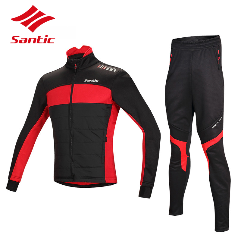 Santic Winter Cycling Jersey Sets Thermal Fleece MTB Road Bike Cycling Clothing Windproof Warm Bicycle Jacket Coat Ropa Ciclismo santic autumn winter cycling fleece jacket thermal windproof mountain bicycle bike jacket windcoat mtb cycling jacket clothing