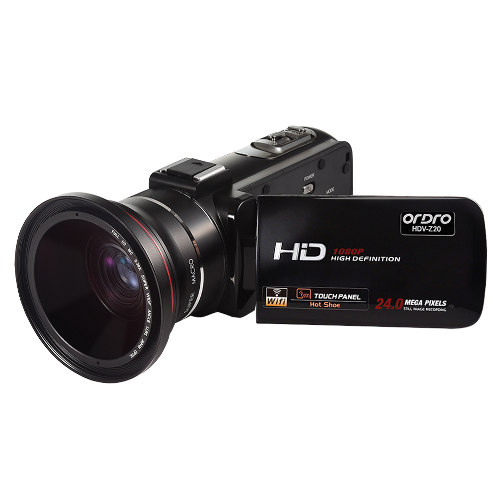 Ordro Portable Video Camera 1080P Max 24.0 MP HD Camcorder with Wifi Wide Angle Lens Remote Control (HDV-Z20)