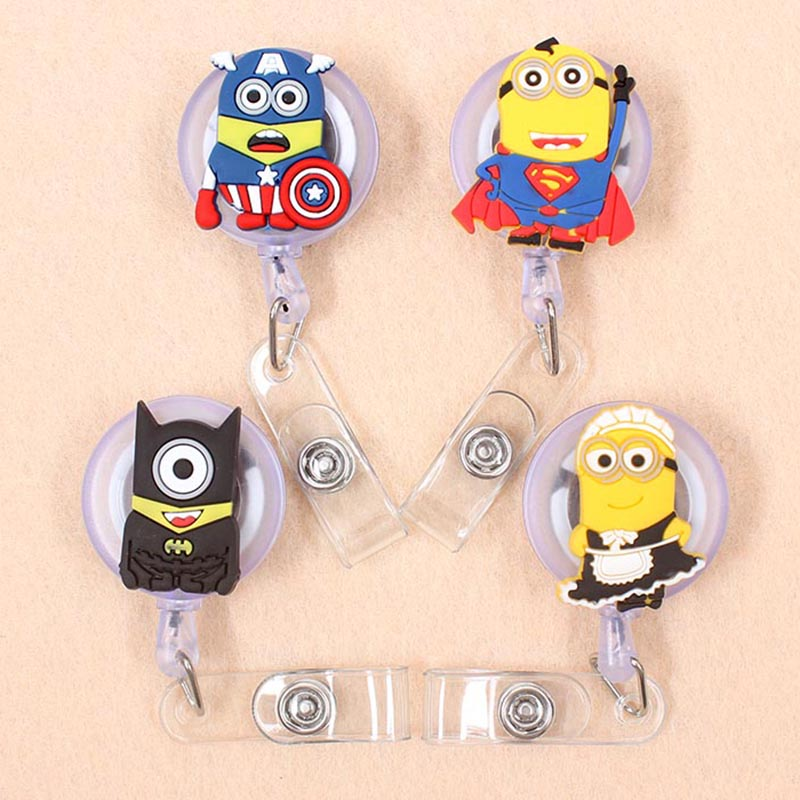 New Cartoon 60cm Silicone Super Heros Yellowman Retractable Badge Reel Student Nurse Exhibition Enfermera Name Card Chest