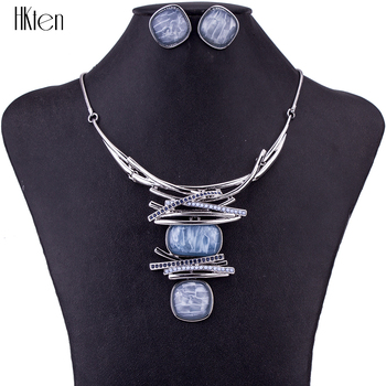 MS1504674 Fashion Jewelry Sets High Quality Necklace Earring Sets Light Blue Pendant Oval Design Bridal Jewelry Party Gifts