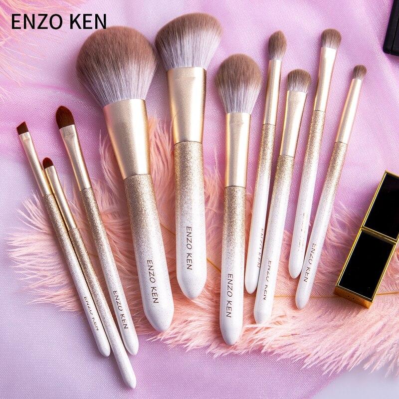 Enzo ken 10 pçs pincéis de maquiagem conjunto pó fundação sombra cosméticos macio cabelo sintético compõem escovas