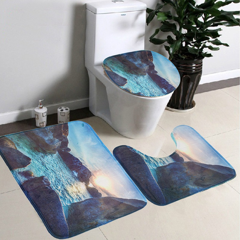 NEW European Style Flannel Toilet Carpet three piece rose iron tower 3 sets Toilet seat cushion mat bathroom Accessories