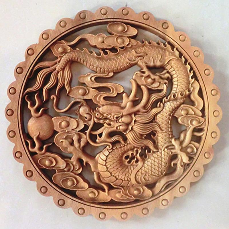 TNUKK ART ! CHINESE HAND CARVED DRAGON STATUE CAMPHOR WOOD PLATE WALL SCULPTURE.