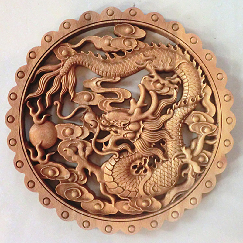 TNUKK ART ! CHINESE HAND CARVED DRAGON STATUE CAMPHOR WOOD PLATE WALL SCULPTURE.