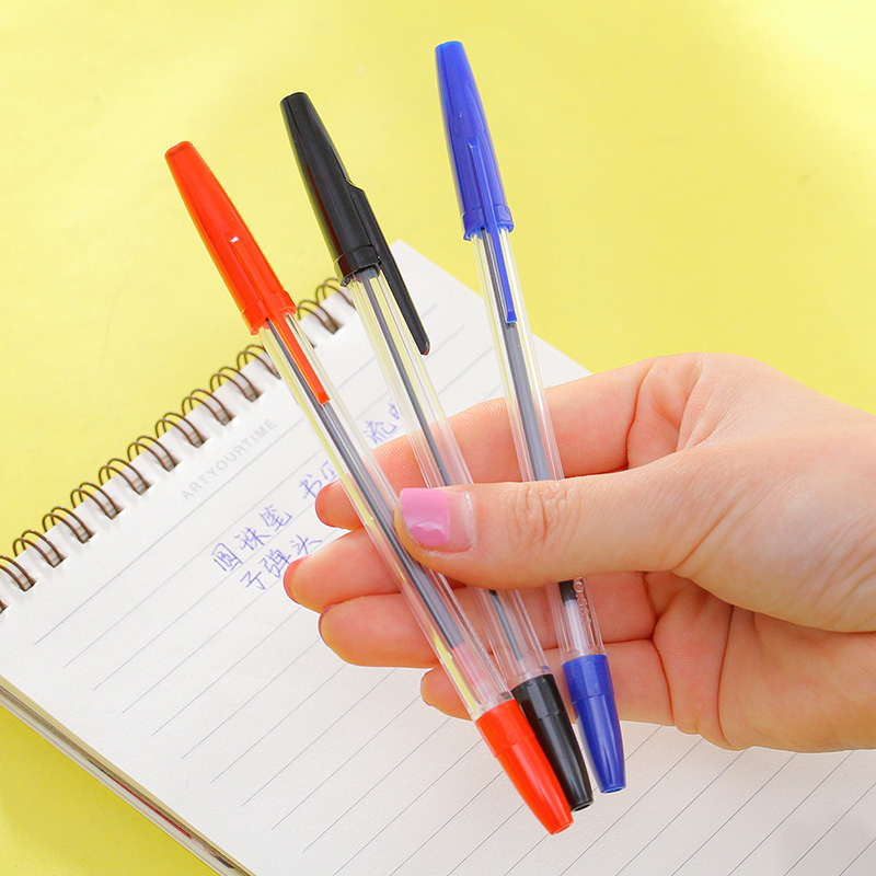 50pcs/set Wholesale Ballpoint Pen Red Blue Black 1.0mm Student Stationery Office Supplies Cheap Price Stationeries