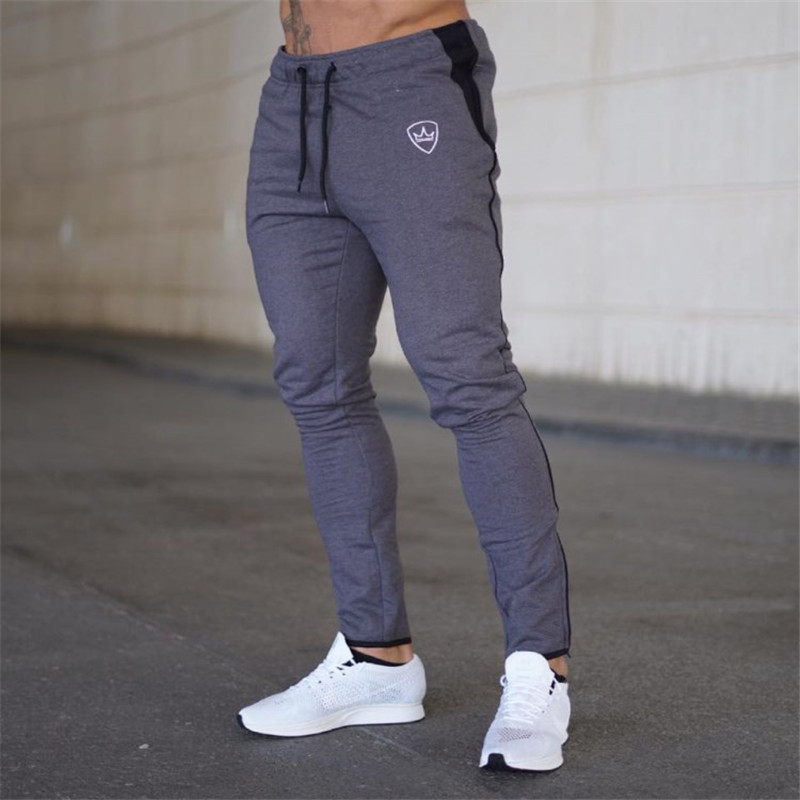 YEMEKE 2018 Cotton Men Full Sportswear Pants Casual Elastic Mens Fitness Workout Pants Skinny Sweatpants Trousers Jogger Pants