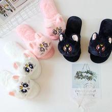 Ivyye marinheiro lua gato dos desenhos animados de pelúcia recheado chinelo inverno quente slides bonecas sapatos interiores brinquedos macios chinelos unissex presentes novo