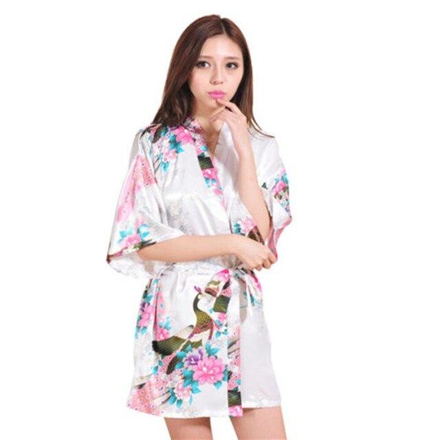 Новый Дизайн Белый Павлин Печатных Шелковые Кимоно Халат Женщин Сексуальный Элегантный Пижамы Халат Свадьба Невесты Халаты S-3XL