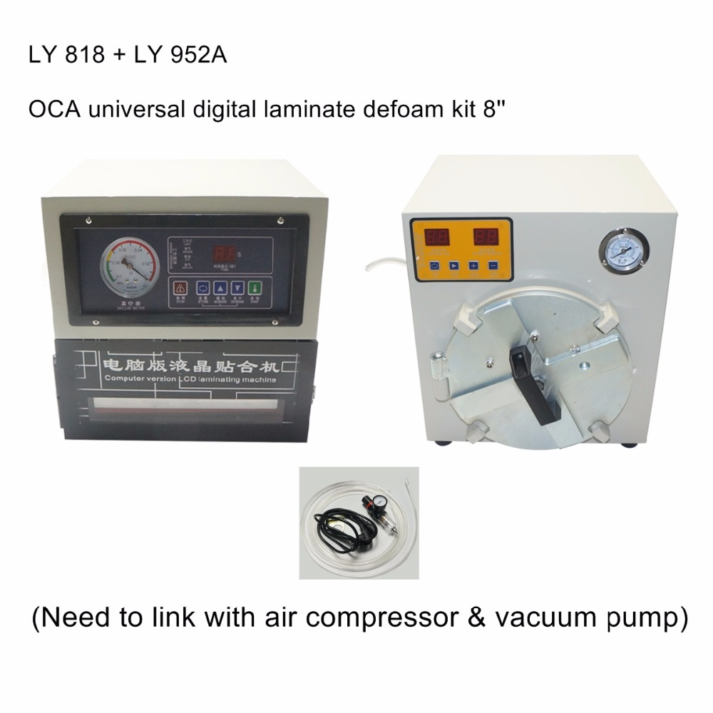 OCA laminating machine LY 818 and bubble defoam machine LY 952A for 8 inch LCD screen semi auto lcd repair machine ly 948v 3 oca pack c for 7 inch free tax to europe