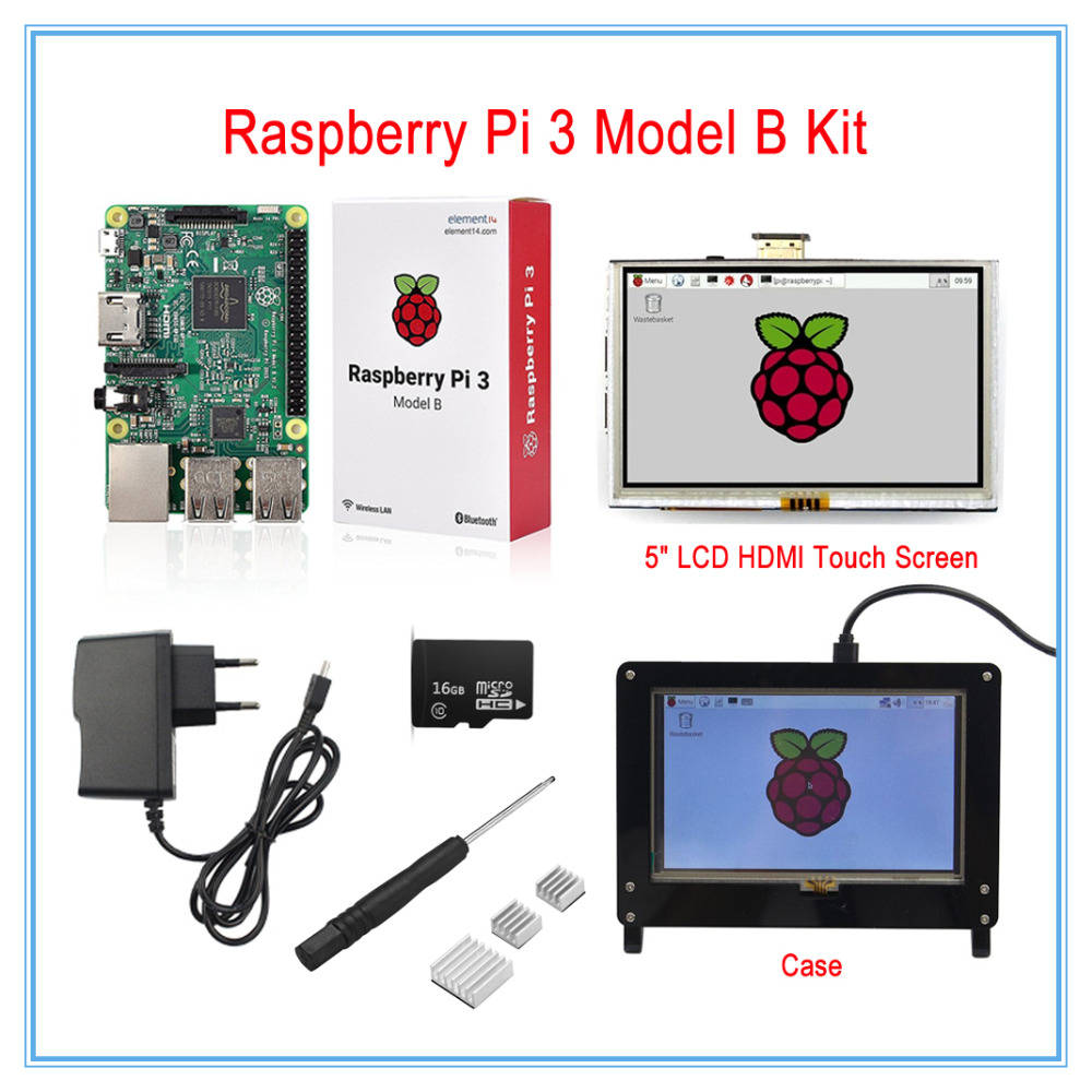 Raspberry Pi 3 Model B Board Kit / 5 Inch LCD HDMI USB Touch Screen+5V 2.5A Power Supply+Heatsinks+Case(Black) подушка массажная medisana mc 81e