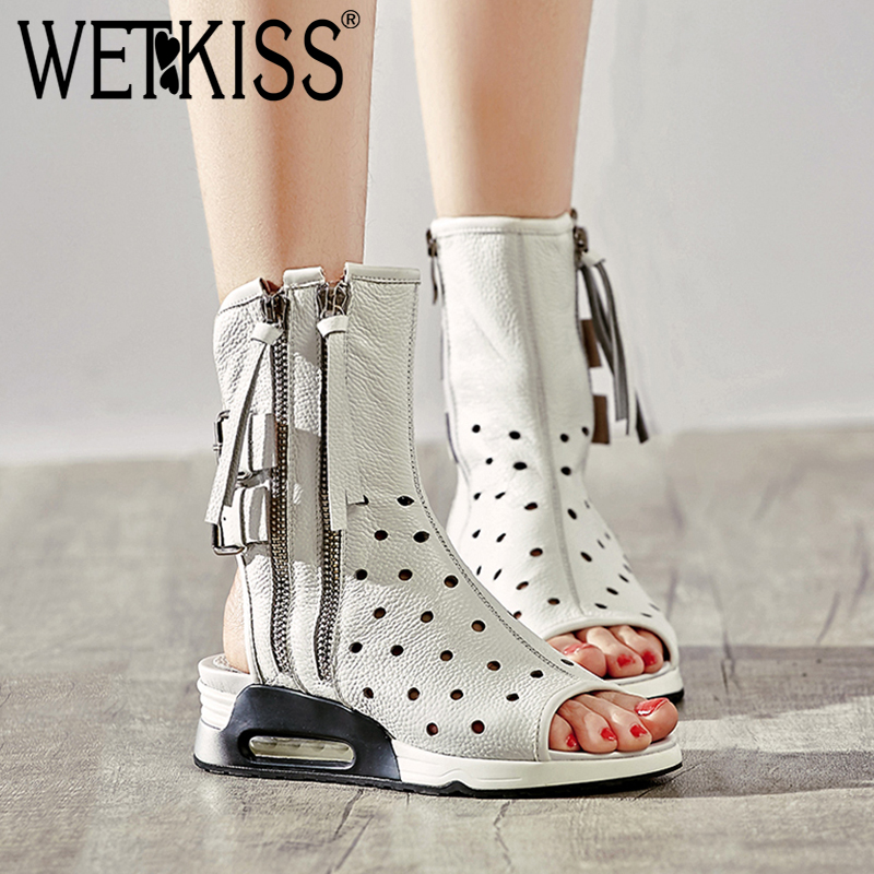 WETKISS 2018 Genuine Leather Summer Boots New Peep Toe High Neck Platform Footwear Cutout Wedges Zipper High Heeled Girl Shoes
