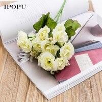 15 Cabezas/manojo 6 manojo De Flores De Seda Artificial Rose Decoración Planta Flor Arreglo Floral De La Boda Decoración Del Hogar
