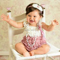 Bebé primera Outfit - cordón de petti del mameluco del corazón - muchachas del equipo de san valentín del bebé mameluco del bebé