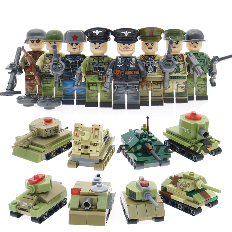 8pcs/set with weapons guns accessories WW2 Russian VS America military army soldiers building blocks children toys gift