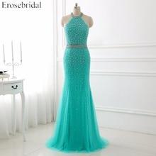 Beading Mermaid Evening Dress Halter Sleeveless Pearl Sweep Train Floor Length Pageant Evening Gown YY790 pearl beading scalloped velvet dress