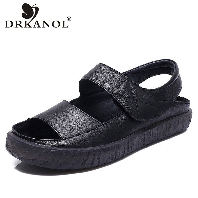 DRKANOL 2018 Women Sandals Open Toe Flat Casual Shoes Women Soft Non-slip Genuine Leather Gladiator Sandals Summer Ladies Shoes summer shoes woman genuine leather soft outsole open toe sandals casual flat women shoes 2018 new fashion women sandals