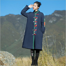 Autumn Winter China folk style women's ancient Long Coat loose printed cotton padded jacket Chinese style cotton Trench clothes цена 2017