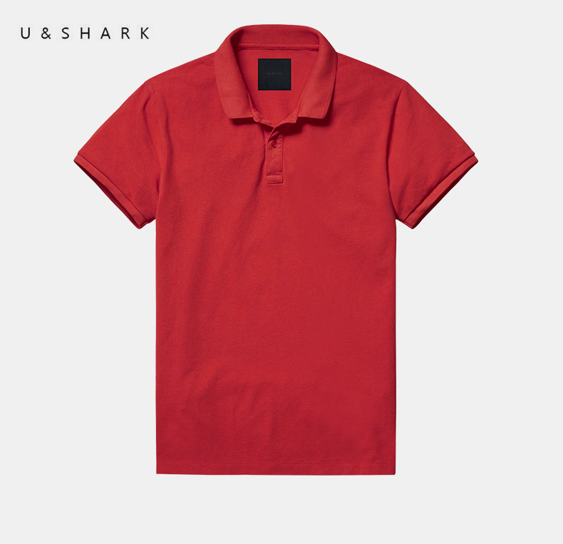 2016 Summer Classic Red Casual   Polo   Shirt Slim Fit Brand Men Cotton Clothing Luxury U&Shark Quick Dry Short Sleeve Shirt Male
