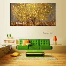 Professional Aritist Hand painted Knife Golden Tree Oil Painting Canvas Art Painting Wall Picture Living Room Hotel Home Decora цена