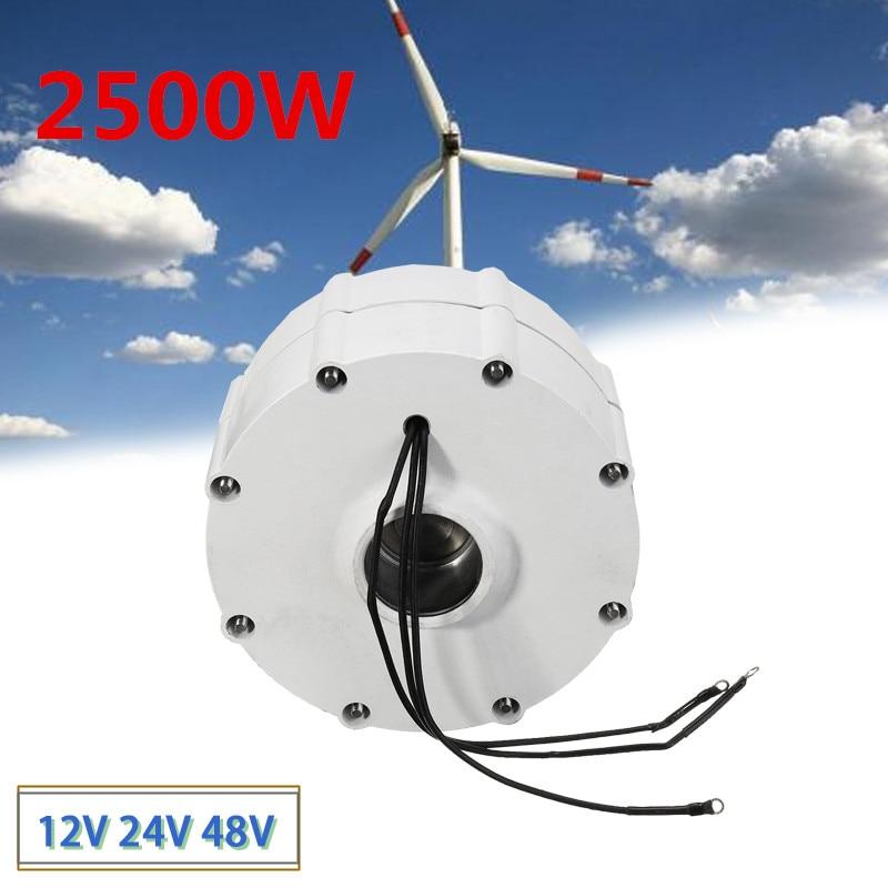 Nouveau moteur de générateur de vent 2500 W 12 V 24 V 48 V haute efficacité pour bricolage éoliennes contrôleur de lame 3 phases courant PMSG