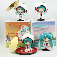 4pcs/set Cute Nendoroid Snow Miku Strawberry White Kimono Ver. Hatsune Miku PVC Figure Toys