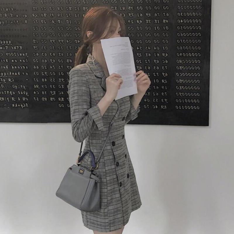 Printemps Style Double Long Col Mince Femelle Blazer Bouton Breasted Vêtements Coton 2019 Décontracté Plaid Entaillé Gray hdsCtrQx