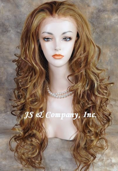 28 inches NEW Style Heat OK Lace Front Wig Long Wavy Auburn Blonde mix