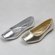 2016 colorful gold silver plain shallow mouth square toe flat-bottomed single shoes ballet vintage women's shoes 298 – 6