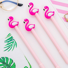 2pcs/lot Creative Cartoon Pink Flamingo Gel Pen 0.38mm Black Ink Students Drawing