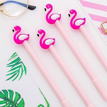 2pcs/lot Creative Cartoon Pink Flamingo Gel Pen 0.38mm Black Ink Students Drawing