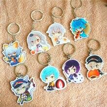 8pcs/set Anime Keychain Touken Ranbu Online Yammy Food Ver. Mikazuki Munechika Hotarumaru Kuninaga Portachiavi Keyrings Pendant