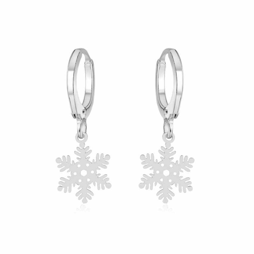 Fashion snowflake Butterfly Pendant Hoop Earring for Women Silver Plated ear Jewelry Drop Shipping