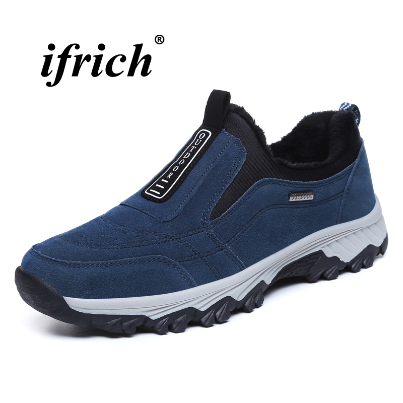 Man Hiking Shoes Black Blue Slip on Sneakers for Male Winter Warm Male Trekking Shoes Rubber Bottom Comfortable Camping Shoes in Hiking Shoes from Sports Entertainment