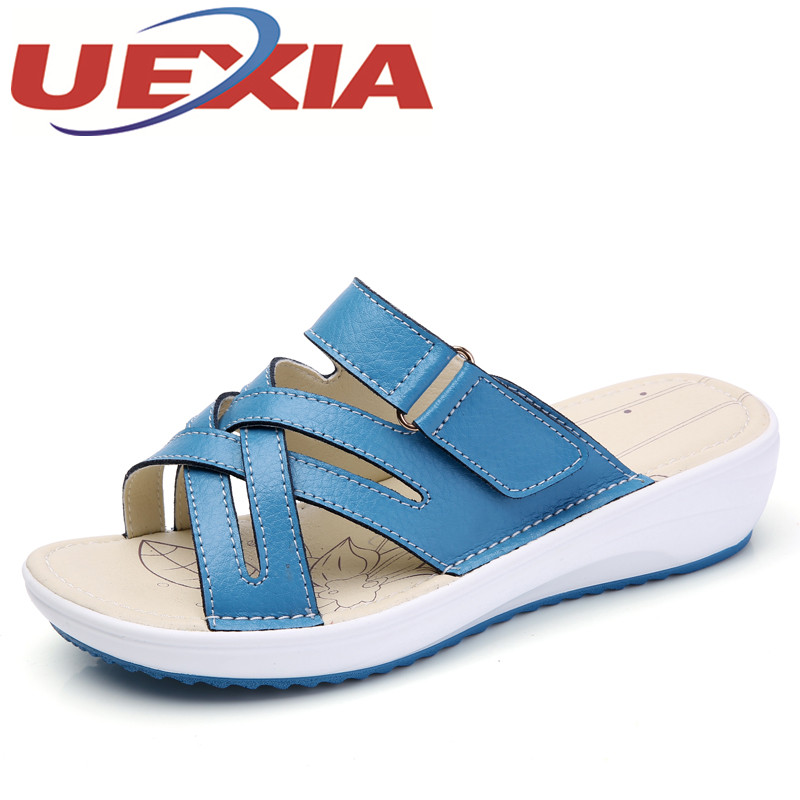 Summer Women Slippers Platform Heel Soft Leather Hook Loop Comfortable Wedge Shoes Ladies Casual Gladiator Sandals Slippers Flat women sandals 2017 summer shoes woman wedges fashion gladiator platform female slides ladies casual shoes flat comfortable