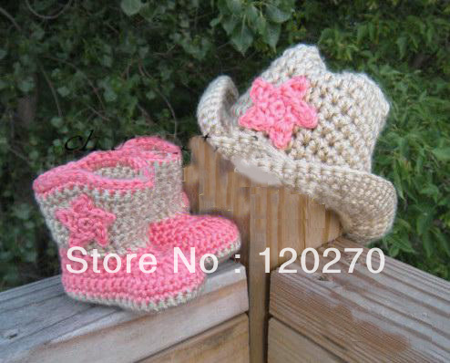 Free Shipping Crochet Baby Cowgirl Hat And Booties Set Infant