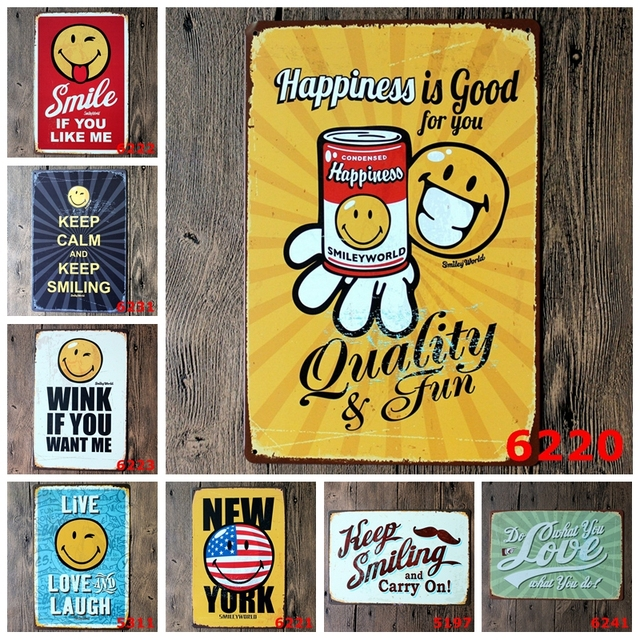 Keep Smiling And Carry On Metal Signs Smile Face Wall Stickers Pub ...