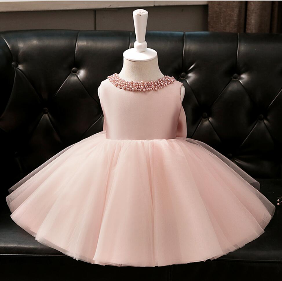 Newborn Baby Girls Baptism Dresses for 1 Year 1st Birthday Beaded Pink Tulle New Born Princess Christening Gown Infants OutfitNewborn Baby Girls Baptism Dresses for 1 Year 1st Birthday Beaded Pink Tulle New Born Princess Christening Gown Infants Outfit