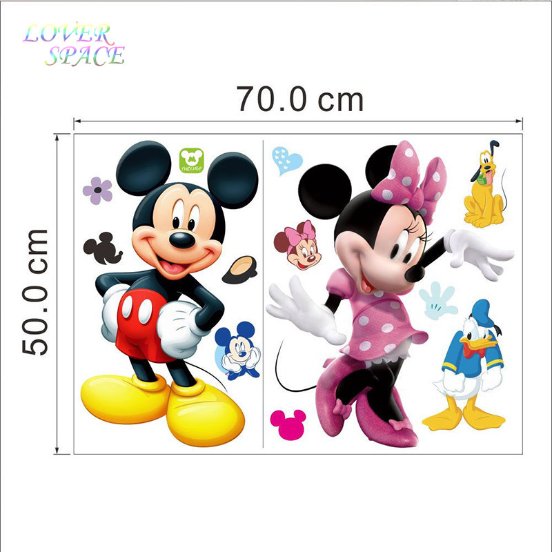 Mickey Mouse Minnie 3D Wall Sticker Cartoon Vinyl Mural Decals Kids Nursery Room Home Decor Stickers For Rooms 50x70cm In From