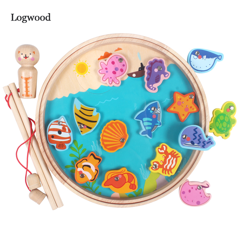 Kids Wooden Digital Magnetic Fishing Game 3D Puzzle Educational Toys For Children Children's Games Fish Toy Magnet Fishing Toy