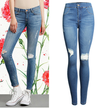 2017 Women Skinny Jeans Famale Vintage Ripped Elastic Pencil Jeans Casual Ladies Hole High Waist Denim Pants Trousers WJNAM040