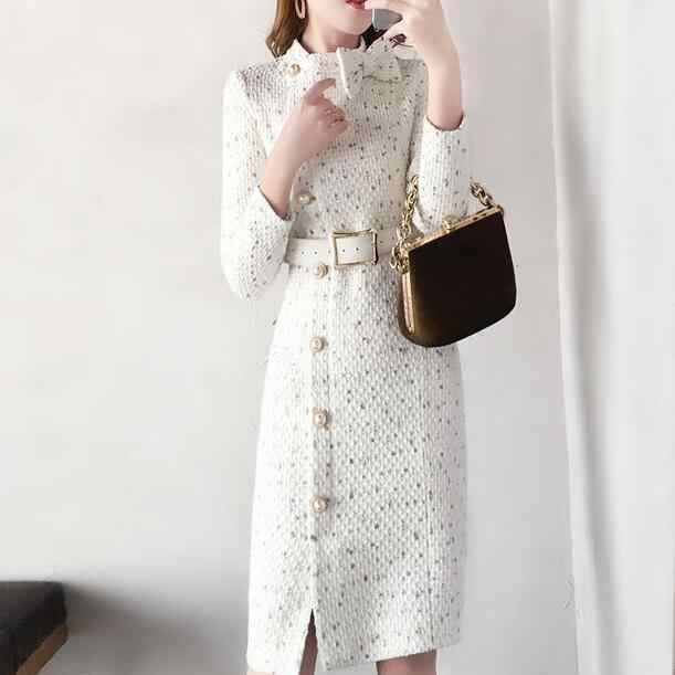 2019 新到着秋冬ランウェイ女性のエレガントなツイードドレスボウカラー長袖女性シックなドレス vestidos DC867
