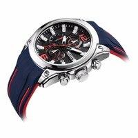 MEGIR Men S Chronograph Analog Quartz Watch Men Sport Blue Silicone Band Design Top Brand Luxury