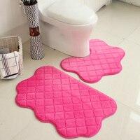 2pcs/set New Soft Bath Pedestal Mat For Toilet Non Slip Rug Home Decor Bath Mat 5 Colors Floor Mats Carpet Bathroom Carpet Set