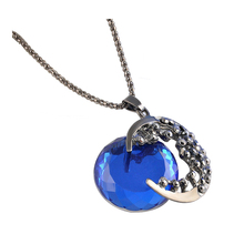 Vintage Women Crystal Rhinestone Moon Pendant Jewelry Retro Long Chain Necklace