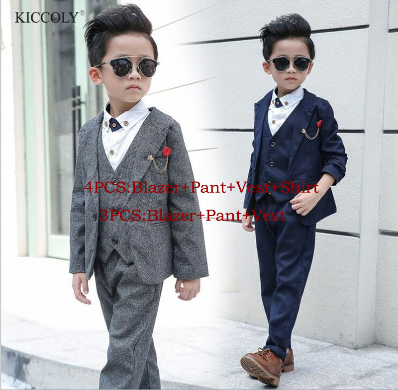 Newest Children Suit Baby Boys Suits Kids Blazer Boys Formal Suit For Weddings Boys Clothes Set Jackets+Vest+Pants 3pcs 3-12Y 2017 new boys clothing set camouflage 3 9t boy sports suits kids clothes suit cotton boys tracksuit teenage costume long sleeve