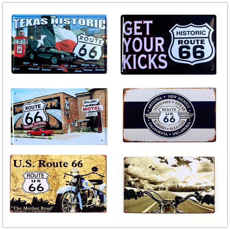 20*30 cm Retro Targa US Route 66 Moto metallo Targhe in metallo ...