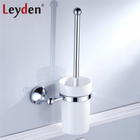 Leyden Luxury Toilet Brush Holder With Ceramic Cup ORB Antique Brass Golden Chrome Wall Mount Toilet