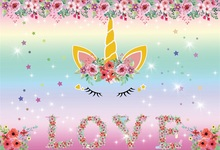 Laeacco 달콤한 유니콘 파티 꽃 장식 반짝이 스타 아기 사진 배경 사진 스튜디오에 대한 사용자 정의 사진 배경